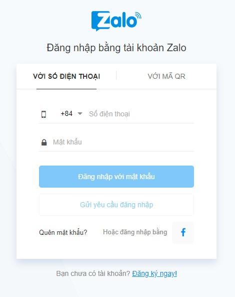 Đăng nhập tài khoản Zalo để bắt đầu chạy Ads