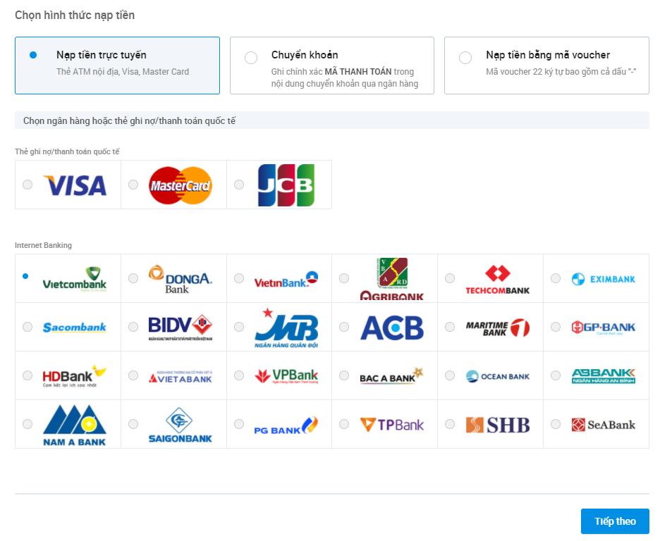 Các hình thức thanh toán Zalo Ads