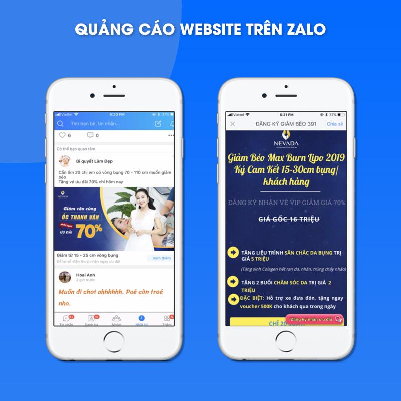 Quảng cáo website trên Zalo