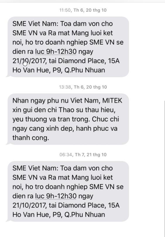 1 ví dụ của tin nhắn SMS được sử dụng trong lĩnh vực đào tạo