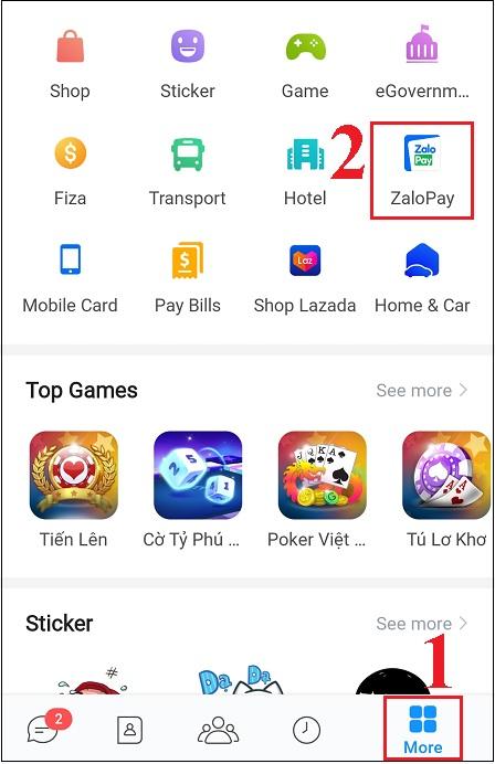 nạp tiền vào ví zalo ngay trên ứng dụng